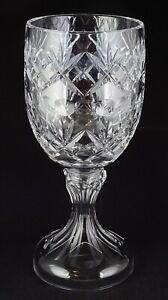 Large Vintage Crystal Chalice Webb Corbett Georgian Fans Criss Cross Thumbprints