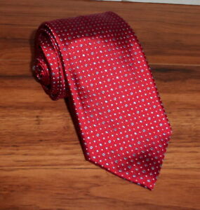 "NEW BRIONI RED W/ GRAY POLKA 100% SILK TIE HANDMADE ITALY 60"" LONG 3"" WIDE"