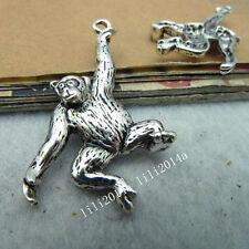 10pc Tibetan Silver Monkey Orangutan Animal Charms Pendant Jewellery MakingPL234