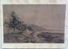 L.DUCARUGE  Peintre Forézien 1845-1911 Paysage Au Fusain Sur Papier 28,5/45 Rare