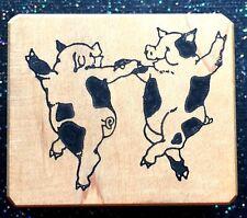 "Vintage Rubber Stamp ""Jitterbug Piggies"" by Art Transfer 1 1/2 x 1 3/4"""