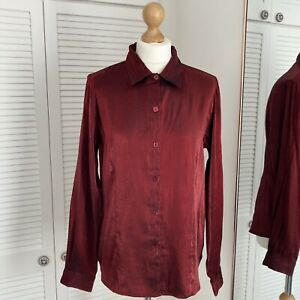 Notations Iridescent Blouse Size Medium Red Collared Shimmer Button Up Vintage