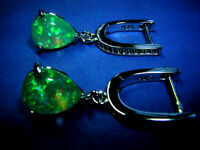 Ohrringe funkelnder grüner Feueropal in 925 Sterling Silber Smaragde Zirkonia