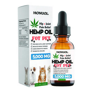 Hemp Oil for Pets 100% Organic 5000MG Aids Digestion, Joints, Mood, Supplement
