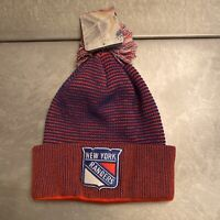 NHL New York Rangers Cuff Pom Knit Beanie Winter Ice Hockey Ski Hat (FREE SHIP)