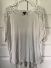 Women's Mossimo White Lace Detail Top Size Medium