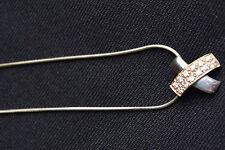 """Sterling SILVER CROSS Kiss X Diseño Cubic Zirconia Colgante 18"""" Serpiente Cadena * Venta"""