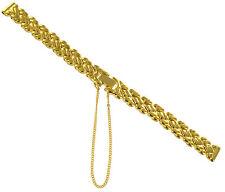 10mm Hirsch Elegant Braided Link Gold Tone w/Safety Chain Ladies Watch Band BOGO