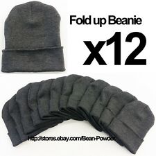 **DARK GRAY** WHOLESALE LOT OF 12 PLAIN BLANK SOLID LONG FOLD UP BEANIE HATS