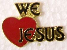Hat Lapel Pin Push Tie Tac Religious We Love Jesus NEW