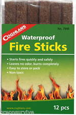 12 PC FIRE STARTER STICKS WATERPROOF EMERGENCY TINDER IGNTE W SPARK OR MATCHES