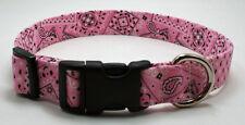 Bandanna Lt Pink Dog Collar Adjustable Handmade Custom Designer