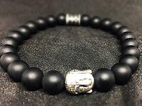 Onyx schwarz matt Armband Bracelet Perlenarmband Buddhakopf silber 8mm