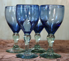Hand Blown Wine Goblets Water Artisan Made Cobalt Handmade Glasses Set 4