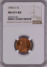 1945-S 1C RD Lincoln Wheat One Cent  NGC MS67+RD          5859378-001