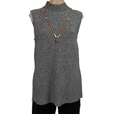 Women's Sweater Vest Gray w/ Beaded Necklace Dana Buchman Size L New