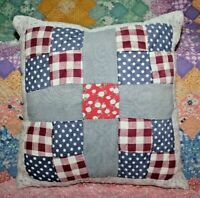 Throw Pillow Made With Vintage Farmhouse Four Patch Plaid Feedsack Quilt #5