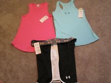 NEW Womens UNDER ARMOUR 3Pc ATHLETIC Outfit 2 Tank Tops + Shorts XL FREE SHIP