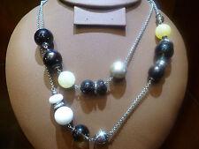 FOSSIL KETTE DAMEN HALSKETTE EDELSTAHL Big Beads Rauchquarz JF85350040 NEU