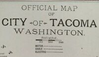 "Vintage 1900 TACOMA WASHINGTON Map 11""x14"" ~ Old Antique Original NEWCASTLE WA"