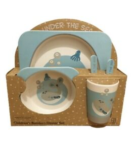 Children's Bamboo Dinner set- Plate, Bowl, Cup, Fork & spoon - Whale design- New