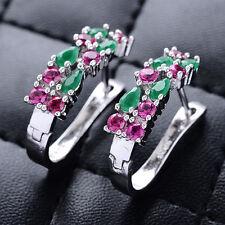 Women Fashion 925 Silver Ruby Emerald Ear stud Hoop Earrings Wedding Jewelry