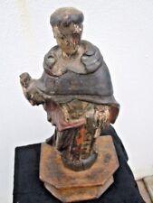Sculpture saint bois polychrome d'époque 17ème Saint Dominique