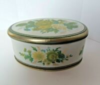 """Vintage Oval Yellow Green Blue Floral Tin """"Meister"""" made in BRAZIL"""