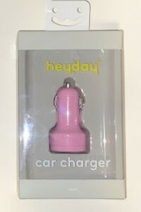 New Heyday Car Charger, High Speed Charging, 3.1 amp/15.5W, (2)Dual ports,Pink