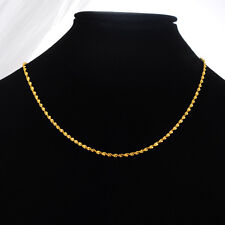 1PC 24K Gold Plated 2mm Women's Twist Water Wave Chain Necklace 44.9cm long