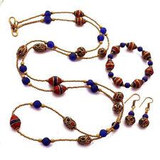 "Turquoise Lapis Coral  44"" Necklace Jewelry Set Nepal Wholesale Lot 12 pcs NC02"