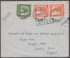 "1946 Belgian Congo 5f+5f+50c, Nizi CDS: London SW1;Airmail(boxed ""AVION"" cachet)"