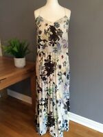 Next Maxi Dress Cream Floral Mix Size 12 Pleated Skirt Fully Lined Floaty Summer