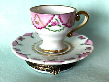 Authentic Limoges Teacup Trinket Box Chamart Exclusif Jestieux