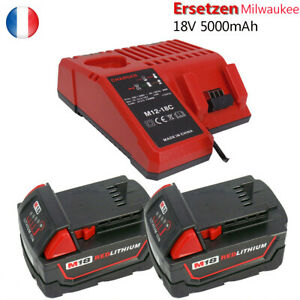 2X Pour Milwaukee Batterie M18B5 M18b4 18v 5,0ah RED LI-ION + Chargeur M12-18C