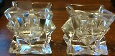 Set of 2 Michael C. Fina Fifth Avenue 24% Lead Crystal Candle Stick Taper Holder