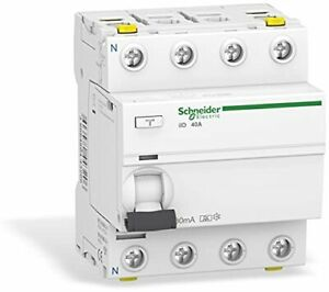 Schneider A9Z21440 Disjoncteur différentiel iID, 4P, 40A, 30mA Type A, Blanc FR