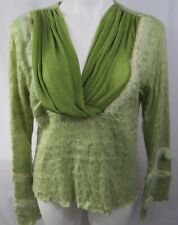 Pretty Angel Womens sz XL Sweater Green V-neck L/S Bell Mohair Wool Pullover NWT