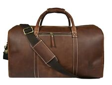 Vintage Leather Duffle Bag Mens Overnight Weekend Travel Luggage Carryon Handbag
