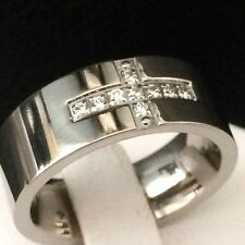 MEN'S WEDDING & ANNIVERSARY BAND RING  SOLID TITANIUM/ CZ WITH CROSS