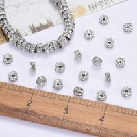 8mm Rondelle 316 Stainless Steel Rhinestone Spacer Beads Bracelet Making Bead