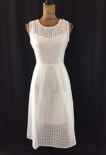 NEW Dress 12 Large Ellen Tracy White Illusion Windowpane Fit Flare Midi NWT $158
