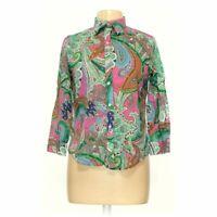 LAUREN RALPH LAUREN Women's Button-down Shirt size L,  green, pink,  cotton