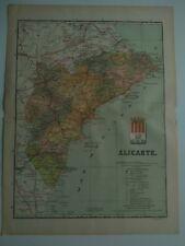 1913 MAPA de Alicante Benito Chias y Carbo (Spain Map España Spagna)