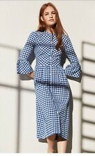 Primark Sold Out Blue White Gingham Checked Summer Dirndl Shirt Dress Size UK 12