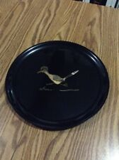 VINTAGE COUROC MONTEREY MID-CENTURY ROADRUNNER INLAID BLACK LACQUER SERVING TRAY