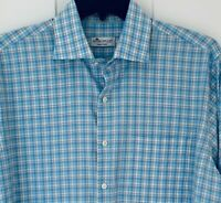 Peter Millar Mens Button Front Long Sleeve Casual Shirt Size LARGE Blue Plaid