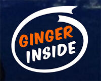 GINGER INSIDE FUNNY JOKE CAR STICKER DECAL WINDOW BUMPER DRIFT VINYL