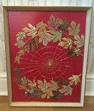 VINTAGE 60s EMBROIDERY APPLIQUÉ SPIDER IN A WEB PICTURE RETRO KITSCH COLLECTABLE