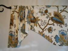 WAVERLY~Jacobean Floral~Teal Blue~Brown~Cream~Valance~Curtain~UNLINED~Handmade